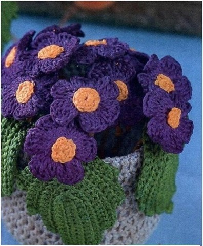 Вязанные крючком цветы - примулы