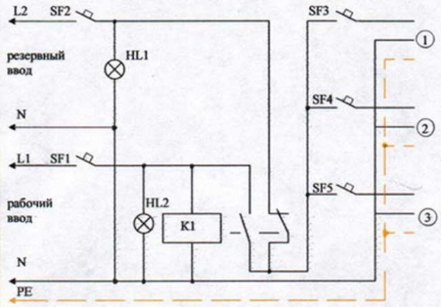 Wiring diagram for a triple switch