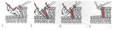 Вывязывание столбика с накидом в два приема
