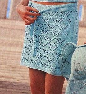 Пляжная ажурная юбка спицами