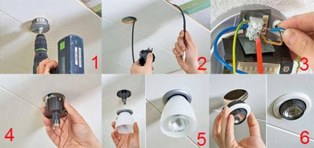 Installation of ceiling light